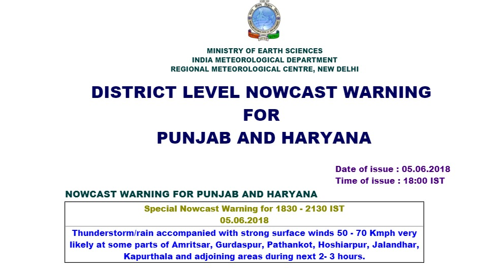 IMD Warning: Parts of Punjab to witness strong winds and rain in the next 2 hours