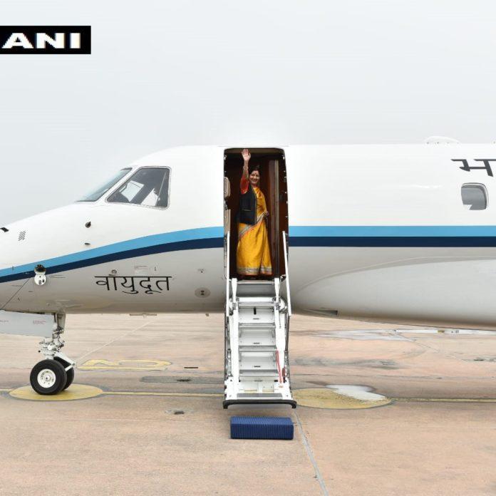 Sushma Swaraj leaves for three nation tour of Kazakhstan, Kyrgyzstan & Uzbekistan