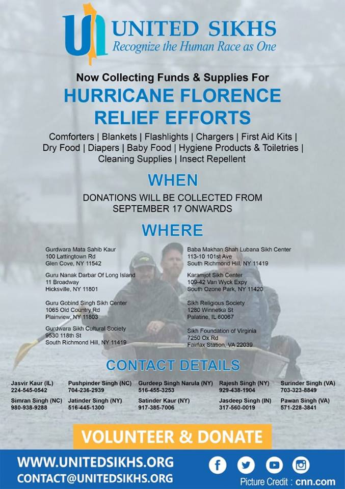 United Sikhs Launch Hurricane Florence Relief Campaign