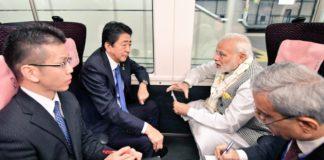 Modi, Abe take express train to travel to Tokyo