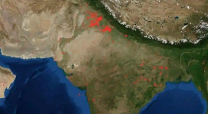 NASA satellite's images of stubble burning, Delhi air quality plunged to 'very poor'