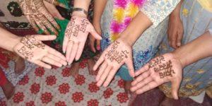 "women teachers in Patiala have got ""Punjab Sarkar Murdabad"" written on their hands with henna"