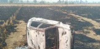 Moga village Tarewala near fields Flip Car ,women including 4 injured