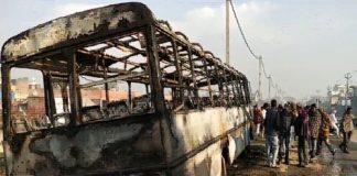 Kaithal, Roadways Bus, Bus On Fire