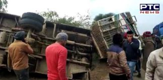 Private Bus overturns