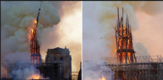 Paris 800-year-old church Notre Dame Cathedral Fire , devastated large parts