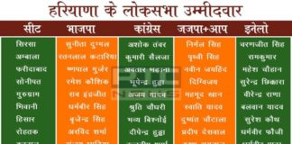Haryana Loksabha Candidates 2019