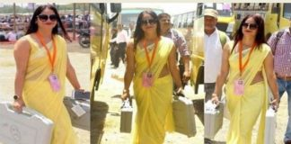 internet-sensation-in-yellow-saree-on-polling-duty-is-from-lucknow