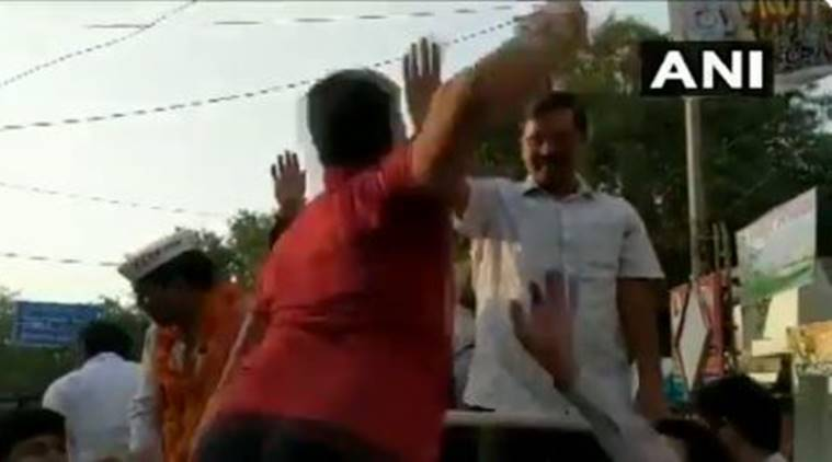 Kejriwal slapped by man in roadshow in Moti Nagar