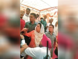 Rajinder Kaur Bhattal Sangrur election rally During Young Slapped