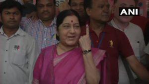 Lok Sabha Elections 2019 Sushma Swaraj, Arvind Kejriwal and Rahul Gandhi Including Other Leaders Vote