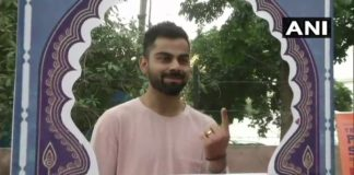 Haryana : India Cricket team Captain Virat Kohli casting vote at a polling booth Gurugram