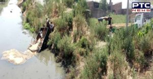 Batala Bypass Filled with wheat Tractor-trolley Fall In Drain