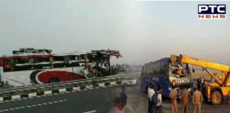 Lucknow-Agra expressway Unnao tractor trolley bus Accident 5 dead ,30 injured