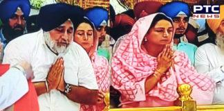 Sukhbir Badal and Harsimrat Kaur Badal At Sri Harmandir Sahib