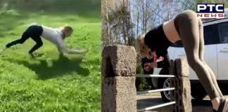 girl walks like a monkey And horse way Run ,Video viral