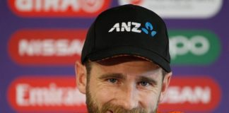 New zealand's captain kane willaimson during a press conference before their semi final match against india in icc cwc 2019 at old trafford in manchester