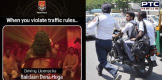 "Punjab Police warning: ""When you violate traffic rules, Balidaan Dena Hoga"""