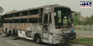 Two People Died, 19 injured after bus caught fire in Pipli area of Kurukshetra