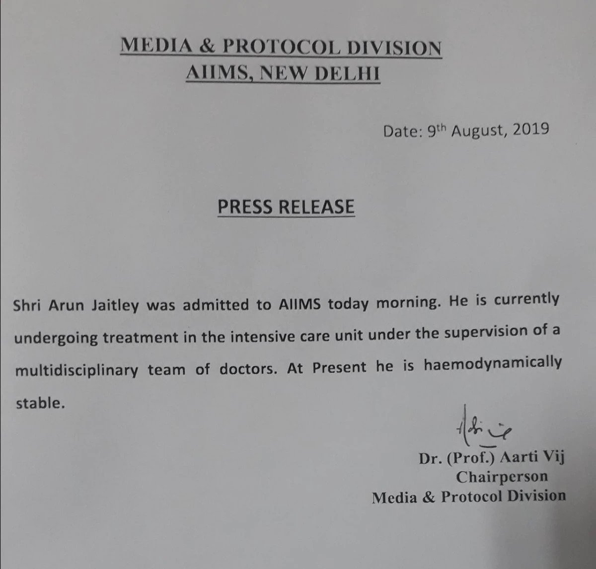 Jaitley admitted to AIIMS, 'haemodynamically' stable