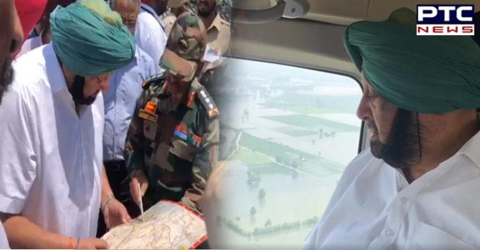 Punjab Floods: CM Captain Amarinder Singh conducts aerial survey of flood-affected areas