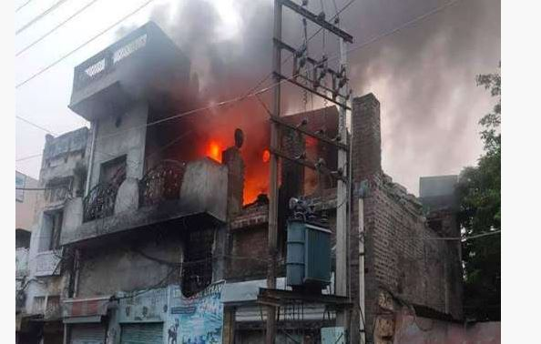 Hoshiarpur Residential area Terrible fire to the mill,Loss of millions