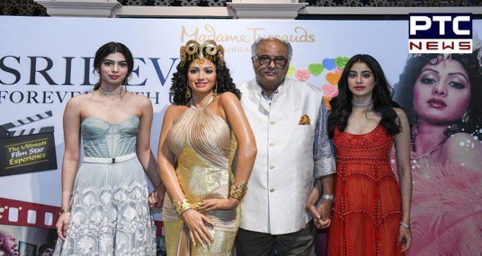Boney kapoor ,Janhvi Kapoor ,Khushi ,Sridevi wax statue ,Madame Tussauds ,Singapore