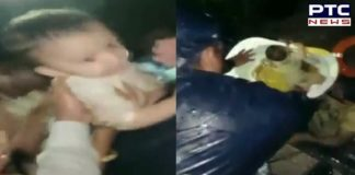 Maharashtra: Pune MC Officials rescue a toddler, watch video