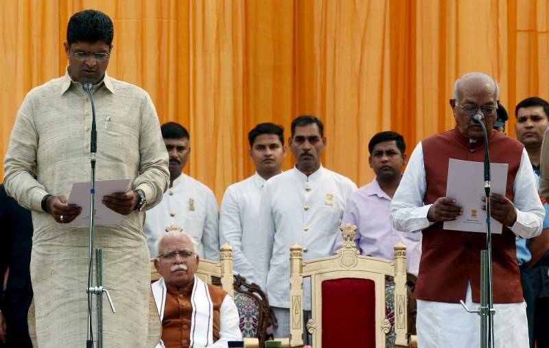 Jjp president dushyant chautala takes oath as the deputy chief minister of haryana