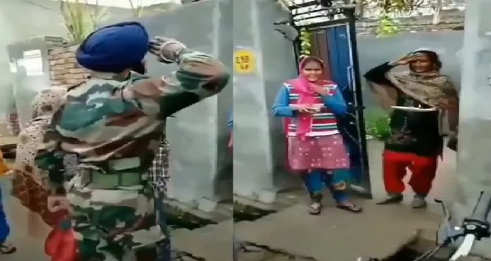 WATCH: Soldier salutes mother after returning from duty, she salutes back