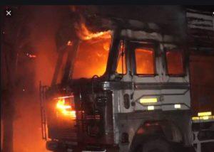 Amritsar-Jalandhar Highway Moving truck Fire