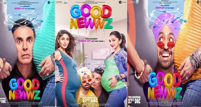 Good Newwz posters: Akshay Kumar, Diljit Dosanjh 'squeezed' between pregnant Kareena Kapoor, Kiara Advani