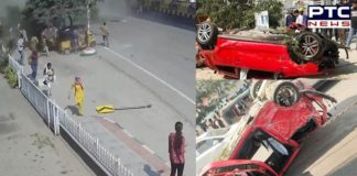 Speeding car falls off Hyderabad flyover, Pedestrian crushed to death [VIDEO]
