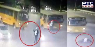 Chandigarh: Bus hits traffic cop at Kali Bari light point [VIDEO]