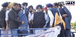 SAD President Sukhbir Singh Badal leads protest against illegal mining in Dera Bassi