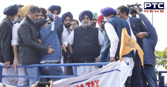 SAD President Sukhbir Singh Badal leads protest against illegal mining in Dera Bassi