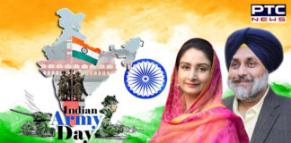 Sukhbir Singh Badal, Harsimrat Kaur Badal greetings on 72nd Army Day