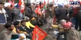 Punjab: Protesters block railway track in Amritsar during Bharat Bandh