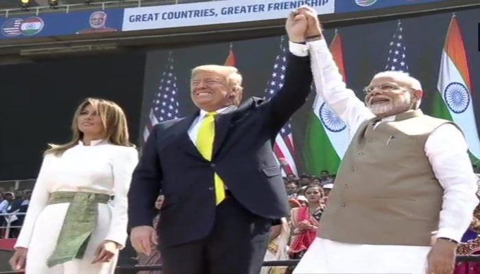 US President Donald Trump speak at Namaste Trump event