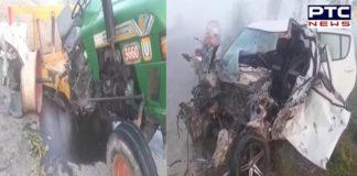 Tractor And speeding Car collision Town Poonia turn Near In Tarn Taran