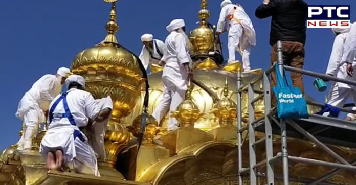 Golden Temple sewa Start on the cleaning the gold plating In Amritsar