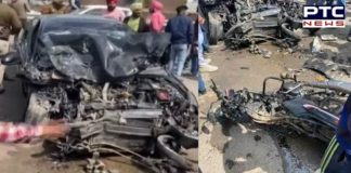 Road Accident Airport Road Near TDI In Mohali, One Death, Four Injured