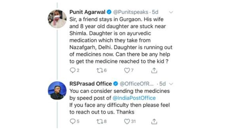 India Post delivered medicines to an 8 year old girl