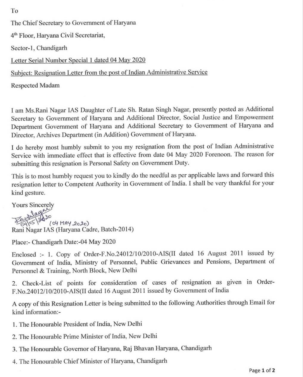 IAS Rani Nagar Resigns
