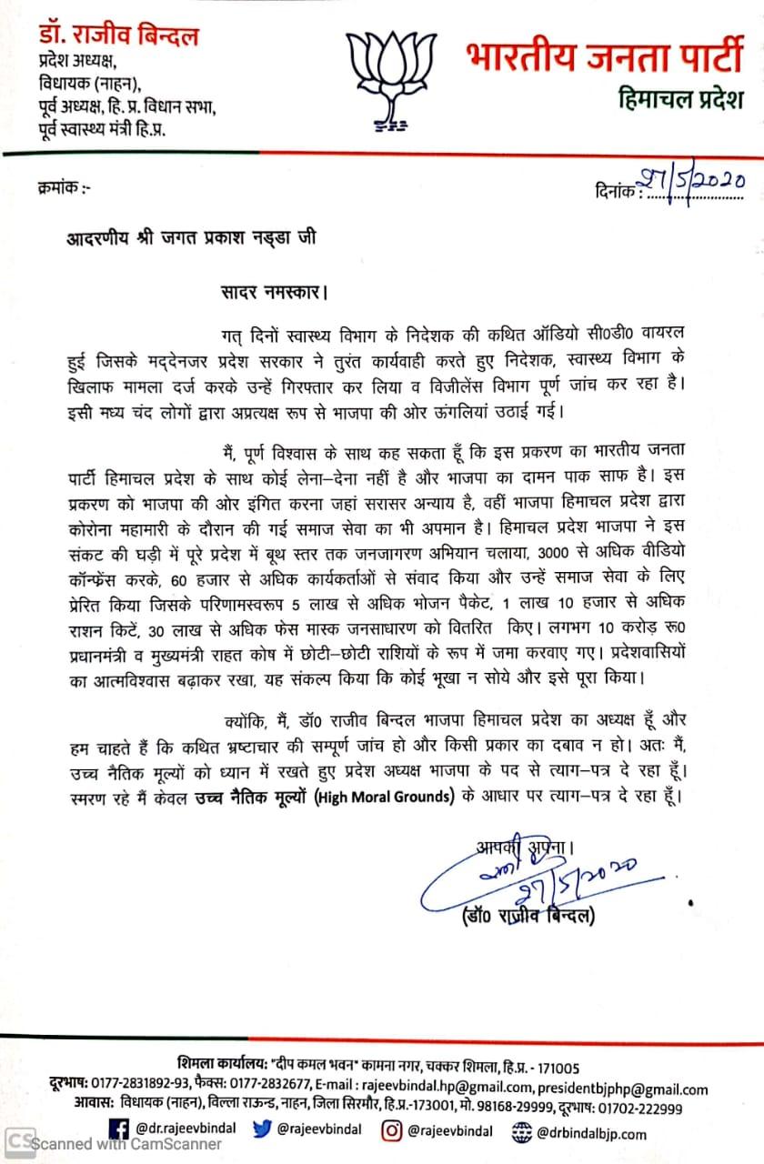 Himachal BJP President Rajeev Bindal Resigns   Himachal Latest News