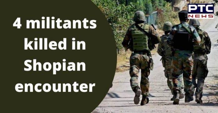 Jammu and Kashmir Zainapora Shopian Encounter   4 Terrorists Killed