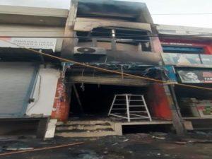A fire broke out in a 3-storey shoe showroom in Bhavanigarh