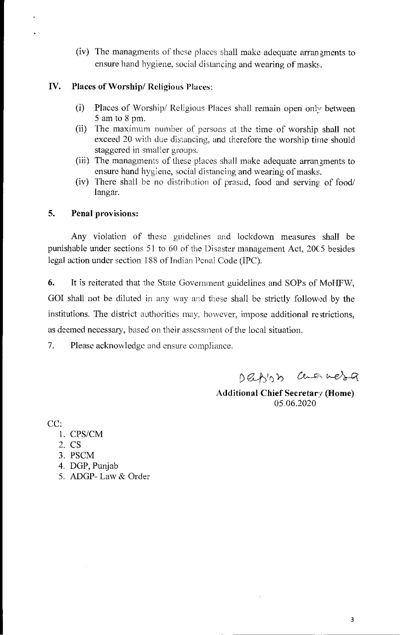 Punjab government issues guidelines for opening of malls, restaurants, hotels and religious places