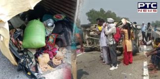 Tempo traveller carrying migrant workers overturns in Khanna