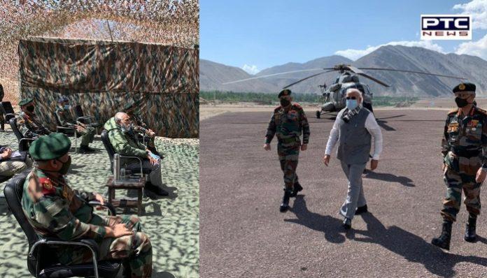 PM Narendra Modi ,Chief of Defence Staff General Bipin Rawat and Army Chief MM Naravane visit to Ladakh